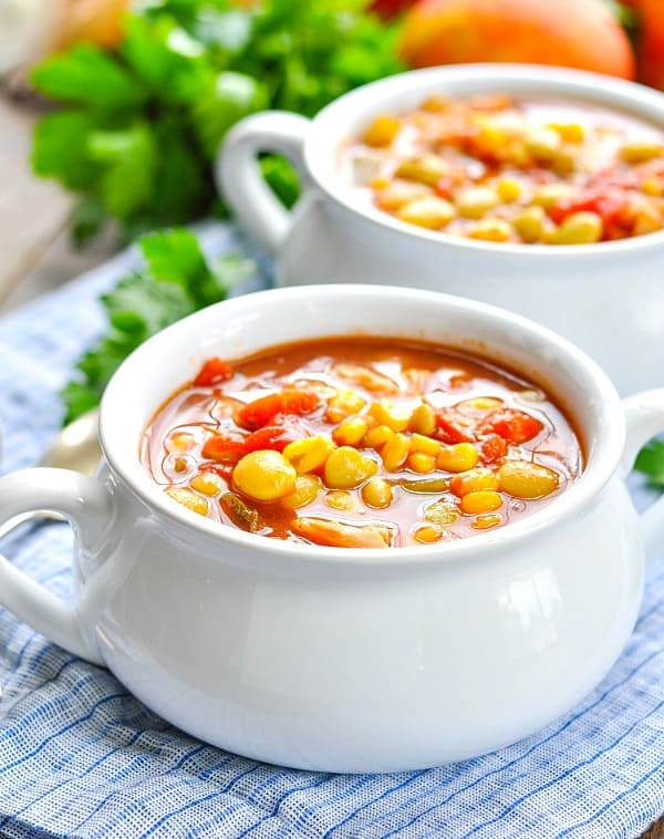 Close up front shot of Brunswick Stew in a white bowl