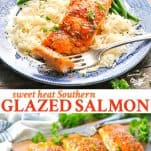 Long collage image of Southern Glazed Salmon