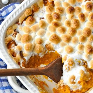 Close up overhead shot of sweet potato casserole with marshmallows on top