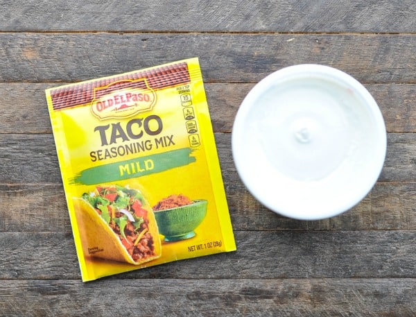 Taco seasoning and sour cream ingredients for 7 layer dip