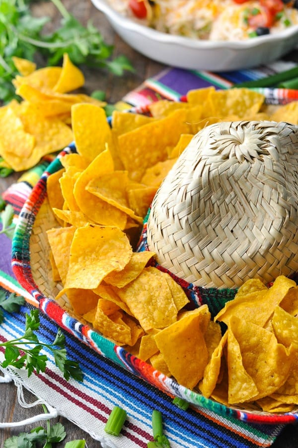 Tortilla chips in a sombrero for Cinco de Mayo party decorations