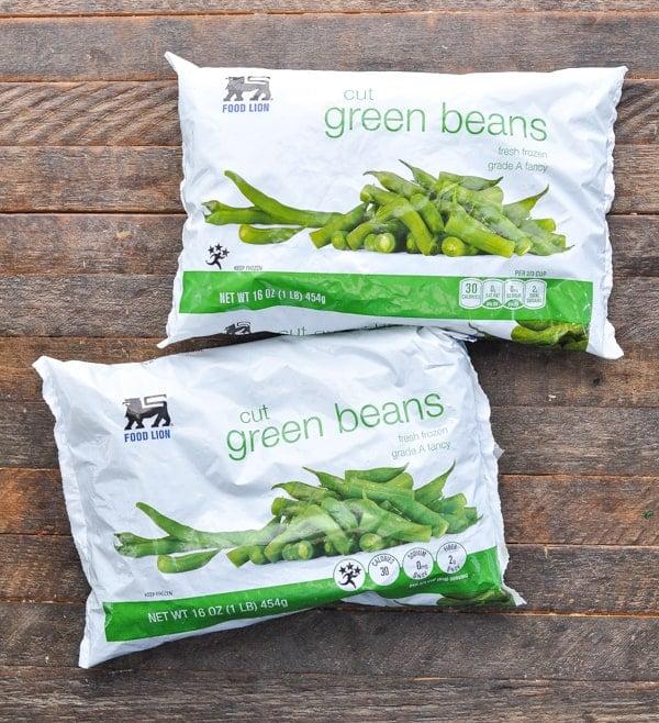 Two bags of frozen cut green beans