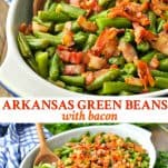 Long collage image of Arkansas Green Beans with Bacon