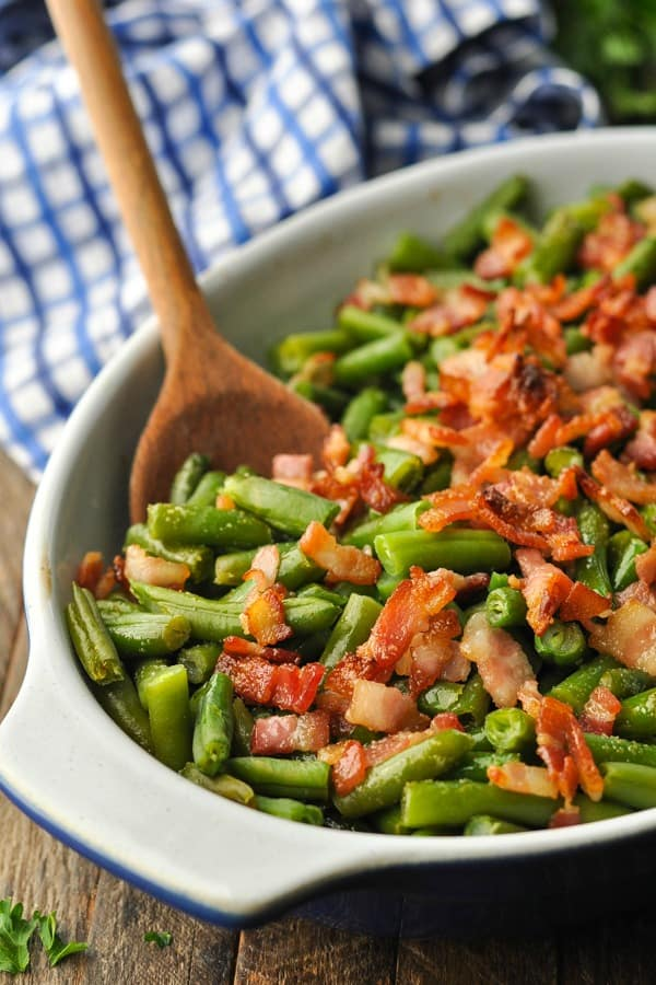 Close up front shot of Arkansas Green Beans with Bacon