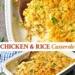 Long collage image of Chicken and Rice Casserole
