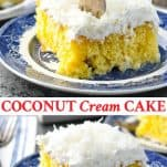 Long collage of Coconut Cream Cake