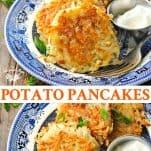 Long collage image of Potato Pancakes recipe