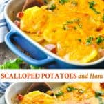 Long collage image of Scalloped Potatoes and Ham