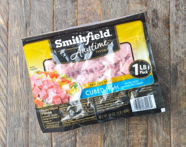 Package of Smithfield cubed ham on a wooden surface