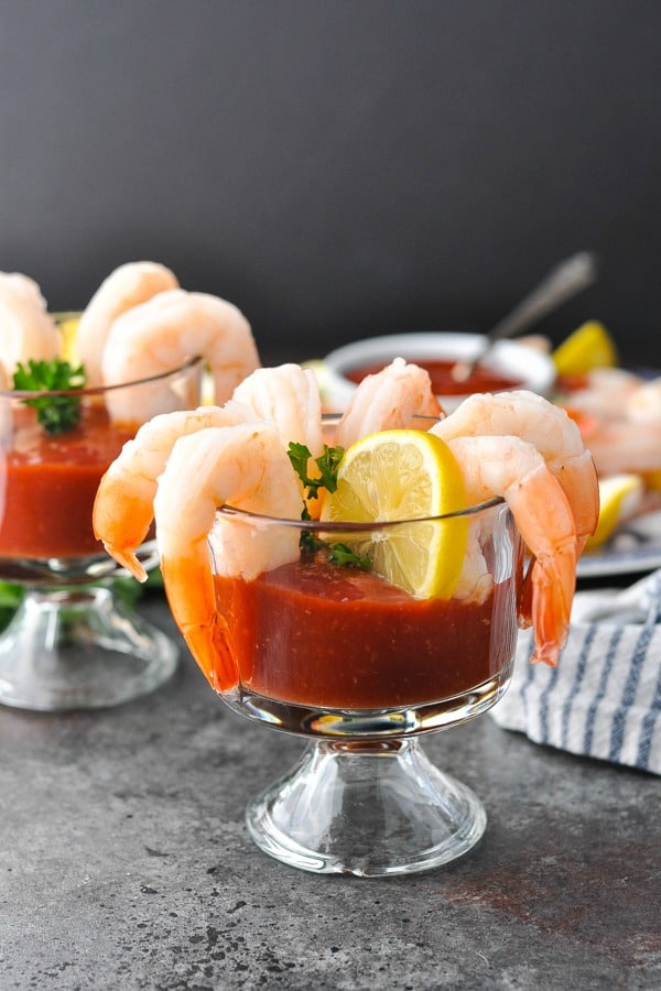 Front shot of shrimp cocktail in a glass