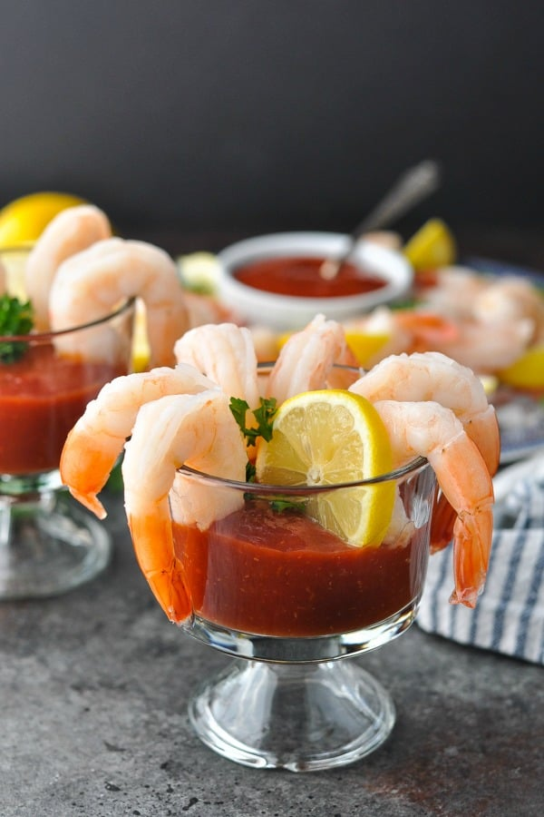 Shrimp cocktail on a glass with lemon