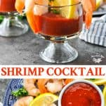 Long collage image of Shrimp Cocktail Recipe