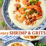 Long collage image of Southern Shrimp and Grits recipe