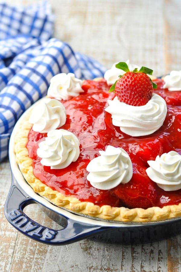 Front shot of a fresh strawberry pie recipe
