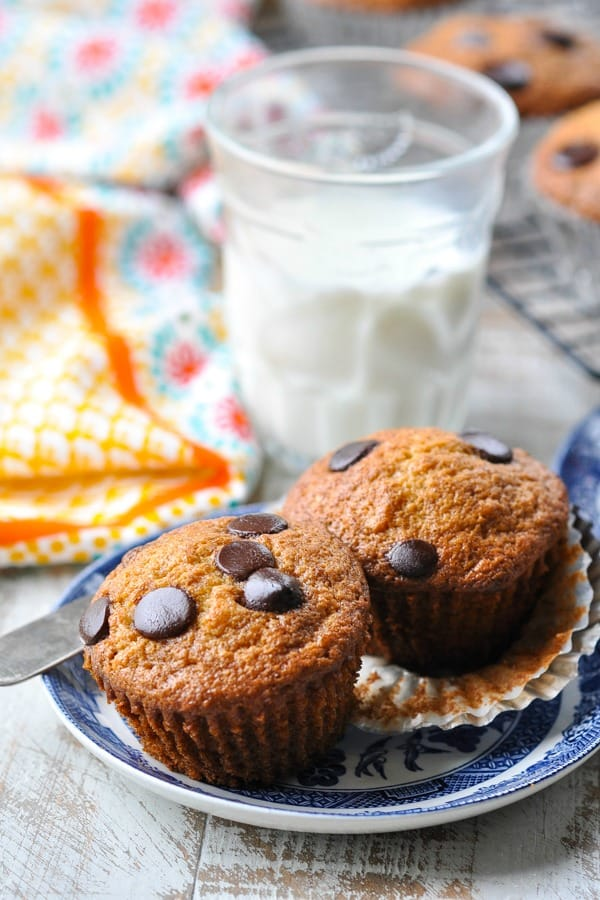 Front shot of two banana chocolate chip muffins on a plate