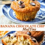 Long collage image of Banana Chocolate Chip Muffins