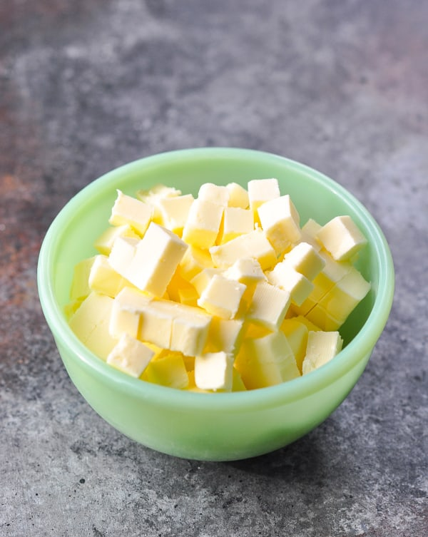 Bowl of cold diced butter