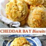 Long collage image of Cheddar Bay Biscuits