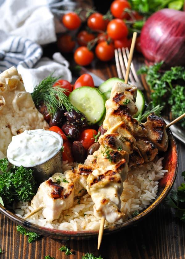 Front shot of a bowl of chicken souvlaki