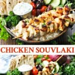 Long collage image of Chicken Souvlaki