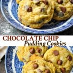 Long collage image of Chocolate Chip Pudding Cookies
