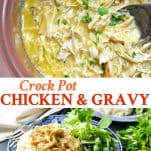 Long collage image of Crock Pot Chicken and Gravy