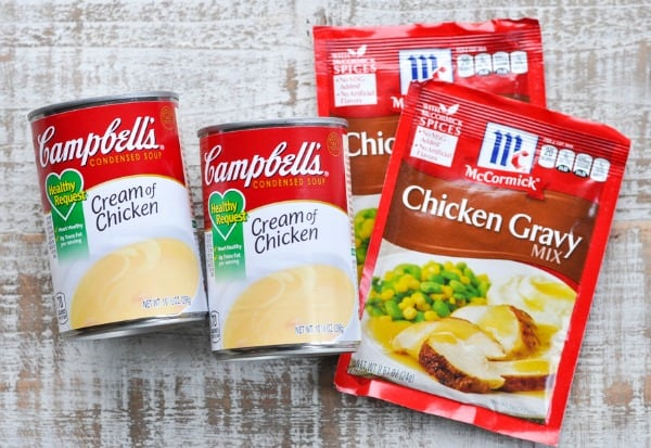 Ingredients for crock pot chicken and gravy