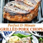 Long collage image of grilled pork chops
