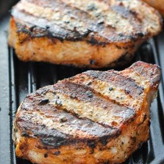 Close up shot of juicy grilled pork chops
