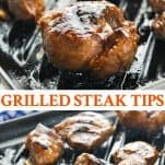 Long collage image of Grilled Steak Tips