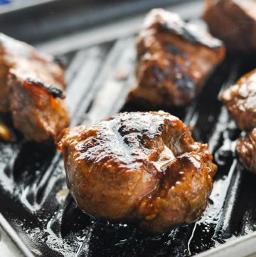 Close up front shot of Grilling Steak Tips