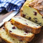 Close up shot of sliced lemon blueberry bread