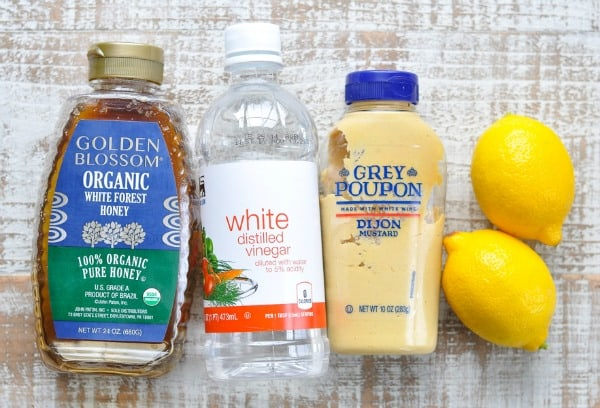 Pantry staple ingredients for homemade lemon vinaigrette