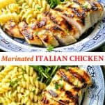 Long collage image of Marinated Italian Chicken