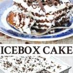Long collage image of Icebox Cake