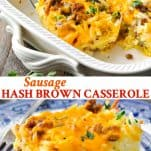 Long collage image of Sausage Hash Brown Casserole