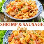 Long collage image of Shrimp and Sausage Pasta