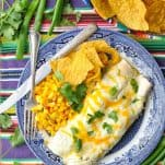 Overhead shot of Sour Cream Chicken Enchiladas on a plate with corn and tortilla chips