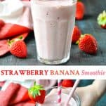 Long collage of Strawberry Banana Smoothie