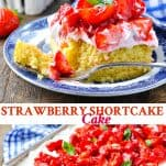 Long collage image of Strawberry Shortcake Cake
