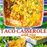 Long collage image of Taco Casserole with Rice