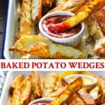 Long collage image of Baked Potato Wedges
