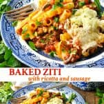 Long collage image of Baked Ziti with Ricotta