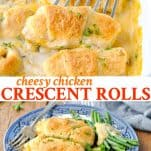 Long collage image of Chicken Crescent Rolls