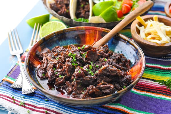 Horizontal shot of a bowl of beef barbacoa