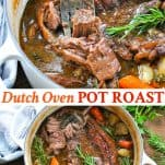 Long collage image of Dutch Oven Pot Roast