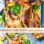 Long collage image of Greek Chicken and Potatoes