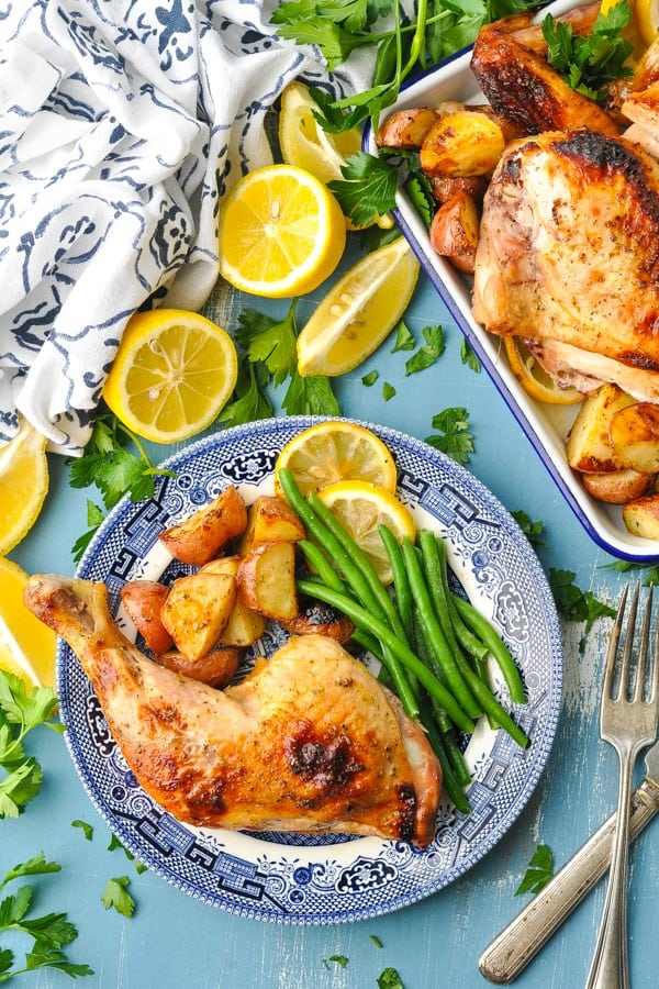 Overhead image of Greek Chicken on a blue surface