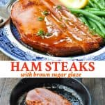 Long collage image of Ham Steak Recipe with brown sugar glaze