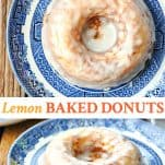 Long collage image of Lemon Baked Donuts